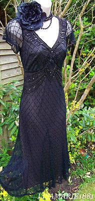 Stunning Vintage 1920's Flapper Black Art Deco Bead Sequin Gatsby Dress 8 36 US4 | eBay