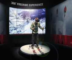 Virtual reality freeskiing?! Our CEO Rolf Schmid is giving it a try at our ISPO booth.