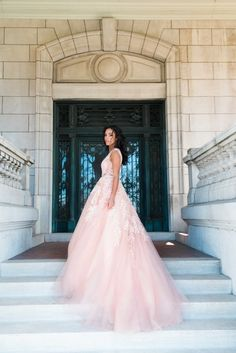 This mesmerizing rose gown with pearl details.