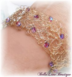 ARIEL  Goldtone Crochet Wire and Lavendar AB by BellaLinaBoutique, $22.00