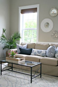 I am loving our new Walmart slip covered sofa!