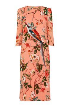 Warehouse, SILK FLORAL BIRD PRINT DRESS MULS 0