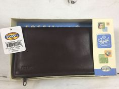 Fossil Leather Checkbook Cover Wallet Credit Card Holder Brown Coin Purse NEW  | eBay