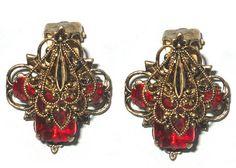 Beautiful vintage Victorian Bohemian garnet earrings at Francesca's Estate Collections!