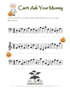 Note name worksheet for Halloween. Great practice for my students who struggle with the bass clef (and need to work on treble clef as well!)
