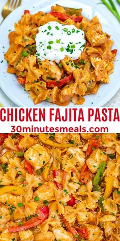 One Pot Chicken Fajita Pasta is a hearty and classic dish made with chicken, bell pepper, and pasta soaked in a creamy fajita sauce. #chickenrecipes #pastarecipes #onepotrecipes #30minutemeals #mexicanrecipes Easy Chicken Dinner Recipes, Pasta Recipes, Bell Pepper Chicken Recipes, Skillet Recipes, Recipes Dinner, Fall Recipes, Easy Cooking, Cooking Recipes, Healthy Recipes