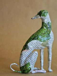 Hound Whimsical Paper Mache Dog Sculpture Custom by PaperPort