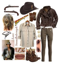 """""""Indiana Jones"""" by snowflakesoph ❤ liked on Polyvore featuring Madewell, Superdry, Derriére, Aéropostale, Majorica, Overland Sheepskin Co. and Forum"""