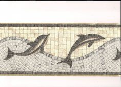 Mosaic Dolphin Wave Blue Ocean Tile Textured Bathroom Wall Border Gold Wallpaper