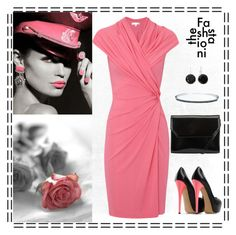 black and coral pink by gallant81 on Polyvore featuring polyvore, fashion, style, Paule Ka, Kin by John Lewis, Monet, Casadei and clothing