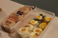 Did this! So simple Make ahead Eggs for breakfast sandwiches: Spray your muffin pan with some non-stick cooking spray. Crack one egg into each well.  Sprinkle the eggs with a little salt & pepper or whatever seasonings that you'd like.  Bake in the oven at 350 for about 15 minutes. store in fridge for a week