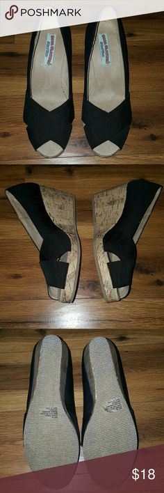 """Black Open Toe Cork Wedge Shoes NWT Criss cross fabric over the toes. Heel measures 3"""". Slight chip on cork at the back of the left shoe (see photo 4) Sticky tags still attached to the bottoms of shoes. Never worn. Size 9.5 Wide. Boca Classics  Shoes Wedges"""
