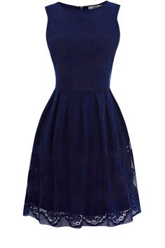 Oasis Clothing | Dark Blue Lace Cutaway Dress | Womens Fashion Clothing | Oasis Stores UK