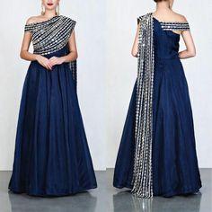 Pink tapeta and jquard silk partywear gown - Designer Dresses Couture Kurti Designs Party Wear, Lehenga Designs, Saree Blouse Designs, Indian Designer Outfits, Designer Gowns, Couture Dresses, Fashion Dresses, Drape Gowns, Indian Gowns Dresses