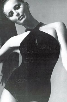 Samantha in a crossed-halter maillot of nylon and Lurex by Franklin Simon, photo Bert Stern, Vogue 1967