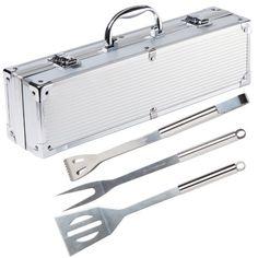 Ultranatura Stainless Steel Grill Tool Set - 3-Piece Set in Aluminium Case