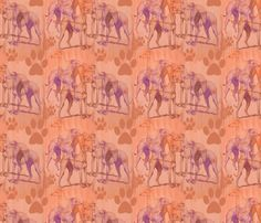 whippets in the fog fabric by dogdaze_ on Spoonflower - custom fabric