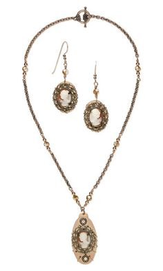 Single-Strand Necklace and Earring Set with Acrylic Cabochons, Antiqued Gold-Plated Brass Focals and Copper Embellishments - Fire Mountain Gems and Beads