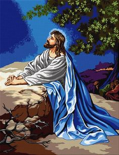Ghetsimani Religious Cross Stitch Patterns, Counted Cross Stitch Patterns, Cross Stitch Embroidery, Cross Stitch Angels, Cross Stitch Kits, Cross Stitch Designs, Jesus Pictures, Religious Pictures, Needlepoint Stitches
