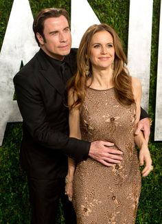 John Travolta and his wife Kelly Preston arrive for the 2013 Vanity Fair Oscar Party on February 2013 in Hollywood, California. Kelly Preston, John Travolta, Vanity Fair Oscar Party, Oscar Winners, Iconic Movies, Celebs, Celebrities, Beautiful One, Celebrity Couples