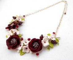 Spring necklace - Flower polymer clay jewelry  by insoujewelry