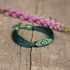 Green linen bracelet seed beaded bracelet by Naryajewelry on Etsy, $40.00