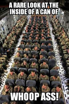SHARE this photo to show support for all the men and women who have served in the military. This is a picture of American troops on a Globemaster plane getting ready to fly home after a tour in Afghanistan. We thank them for their service!