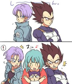 "bulma y el pequeño trunks rompiendo el hielo (found with this caption, it says ""Bulma and baby Trunks breaking the ice"")"
