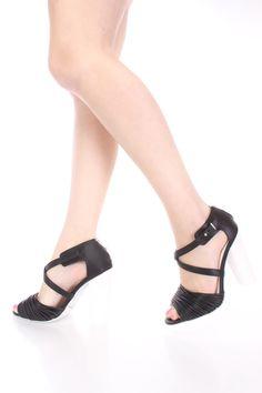 Black Strappy Peep Toe Single Sole Heels Faux Leather