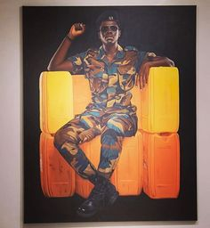 Jeremiah Quarshie - Yellow is the Colour of Water.( this series of over thirty paintings the artist uses his family and friends for sitters on a throne made of used yellow jerrycans. Jerrycans are the preferred mode for water transportation in mo Contemporary African Art, Modern Contemporary, Hyperrealism, Magazine Art, Art Fair, Black Art, Online Art Gallery, Art Boards, Accra