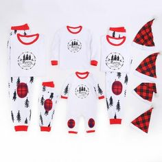 f6d116521f Christmas Tree Family Matching Pajamas with Hat Matching Family Outfits