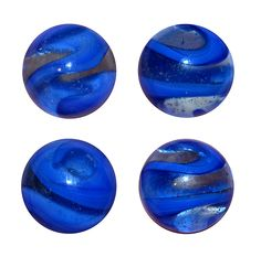 """Akro Agate Snake with a blue corkscrew on a bubbly clear base.  It measures 41/64"""". This image shows 4 different views of the same marble."""