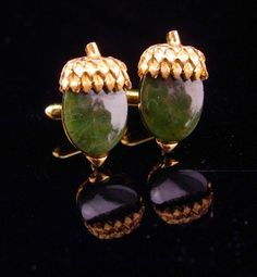 096b2d240453 Vintage Acorn cufflinks / Good Luck gift / gold green Cufflinks / Swank  jewelry / Designer Tuxedo / Symbolic Cuff Accessory