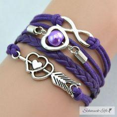 Armband Herz mit Pfeil & Infinity mit Perle lila  im...