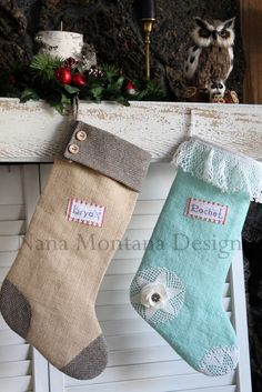 Burlap stocking #DIY #Etsy/NanaMontana
