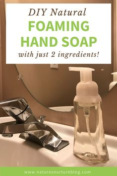 Homemade Foaming Hand Soap - natural, non-toxic, 2 simple ingredients Bronners Soap, Castile Soap Recipes, Homemade Hand Soap, Liquid Hand Soap, Home And Deco, Home Made Soap, Foaming Soap, Diy Products, Cleaning Products