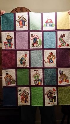 An AMAZING quilt made by our FB friend Diane! She used our Whimsical Cottages Applique design set! This set is available for Instant Download at designsbyjuju.com