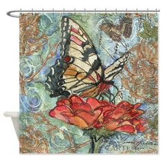 Yellow Butterfly Bathroom Shower Curtain on CafePress.com