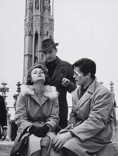 """Luchino Visconti, Annie Girardot and Alain Delon on the set of """"Rocco e i suoi fratelli"""", 1960"""