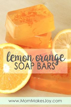 This orange zest lemon soap smells like summer! Made with orange zest, lemon essential oil, clear melt-and-pour soap base, and vitamin E, it's sure to delight. | DIY Bath and Body | Soap Making | Melt and pour soap | How to make soap without lye | Mom Makes Joy