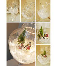 Snow globes and Christmas fairy lights