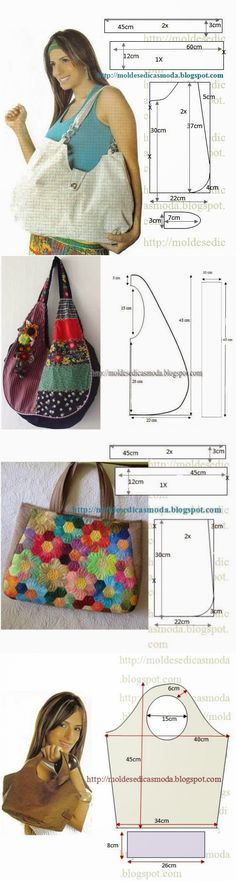 Marvelous Make a Hobo Bag Ideas. All Time Favorite Make a Hobo Bag Ideas. Patchwork Bags, Quilted Bag, Bag Patterns To Sew, Sewing Patterns, Sewing Tutorials, Sewing Projects, Bag Tutorials, Diy Sac, Diy Purse