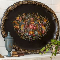 toleware tray on mantel