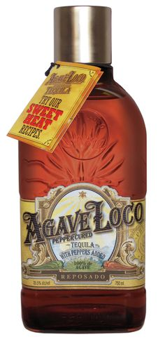 New Bottle Protects The Sweet Heat of Agave Loco Pepper Cured Tequila. The new packaging further reinforces the brand's stature as super premium tequila while the darkened glass protects the delicate pepper flavors inside.
