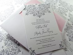 Digby & Rose - Washington, DC, United States. Modern lace letterpress wedding invitation with cotton envelope and pink liner.