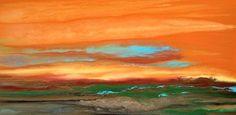 "Contemporary Landscape Artists International: Contemporary Landscape Art ,Abstract Sunset Painting ""Blazing Sky Reflected VII"" by Colorado Contemporary Landscape Artist Kimberly Conrad"