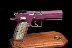 Cerakote Fire Arm Coating Tangfolio Stock II - C-121 Satin Aluminum with H-217 Bright Purple
