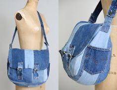 70s Levis Patchwork Messenger Bag grote Indigo Denim