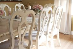 craigslist table and chairs refinished in ivory distressed paint. french country meets shabby chic