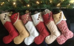 Christmas Stockings Large Contemporary Padded Hand Made Cinnamon/Honey Set of 6
